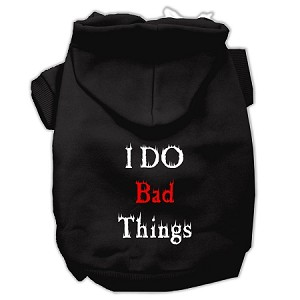 I Do Bad Things Screen Print Pet Hoodies Black XXL (18)